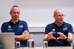 07-05-2019 NED: Press moment national volleyball team Men, Arnhem<br /> Roberto Piazza, the new national coach of the Dutch men's team, gives an overview of the group matches of the Golden European League, the OKT and the European Championship played in their own country / Assistant coach Henk Jan Held, Coach Roberto Piazza