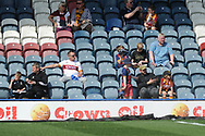 Bradford city fans in the sun during the EFL Sky Bet League 1 match between Rochdale and Bradford City at Spotland, Rochdale, England on 21 April 2018. Picture by Mark Pollitt.