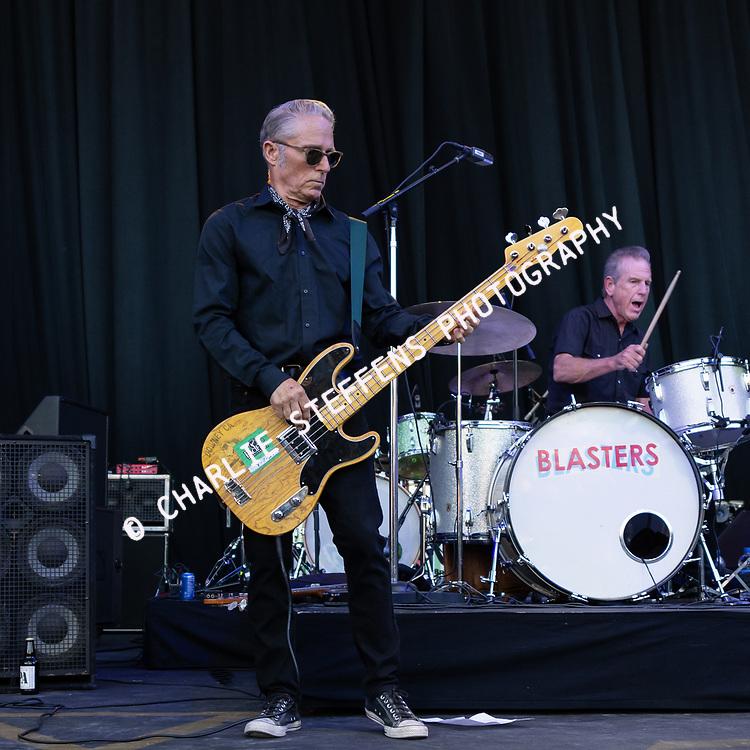 JOHN BAZZ (L) and BILL BATEMAN of The Blasters at Pacific Amphitheater in Costa Mesa, California