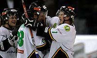 Ishockey<br /> GET Ligaen Eliteserien<br /> Jordal Amfi 04.12.06<br /> Foto: Kasper Wikestad<br /> <br /> Vålerenga VIF - Comet Halden<br /> Peter Lorentzen og Jens Nyström feirer 4-4