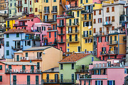 Charming architecture in the village of Manarola, Cinque Terre,  Liguria, Italy.