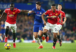 November 5, 2017 - London, England, United Kingdom - L-R Manchester United's Eric Bailly, Chelsea's Alvaro Morata and Manchester United's Luis Antonio Valencia..during the Premier League match between Chelsea and Manchester United at Stamford Bridge, London, England on 05 Nov  2017. (Credit Image: © Kieran Galvin/NurPhoto via ZUMA Press)