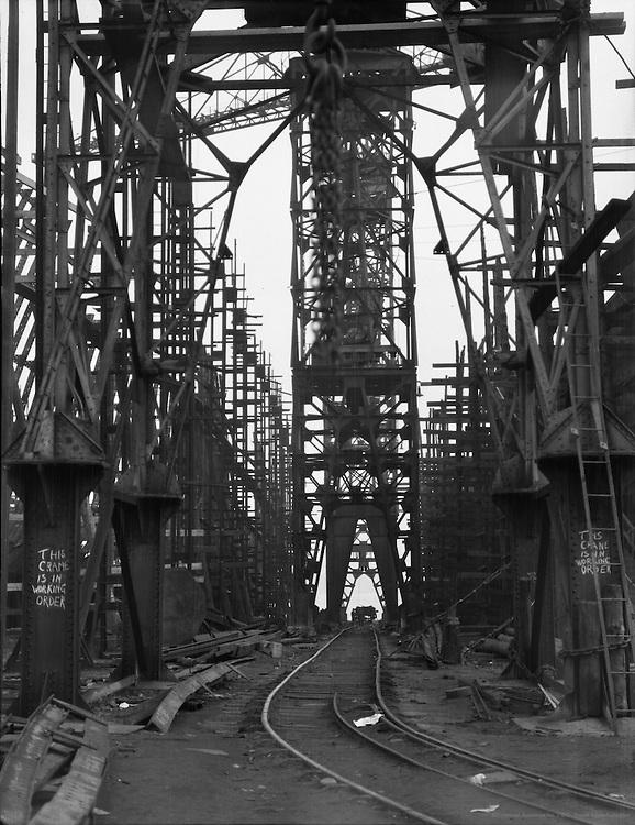 Cranes and Rails between Building Berths, Camwell Laird Shipyard, England, 1928