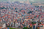 Hanoian houses as seen from a modern high-rise building in My Dinh, Hanoi, Vietnam