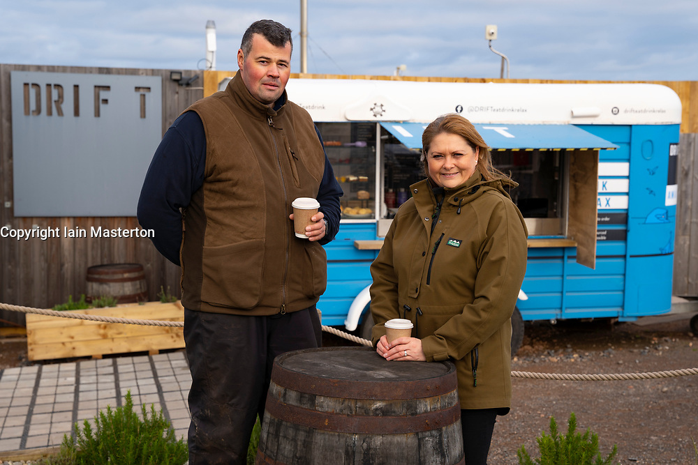 North Berwick, Scotland, UK. 17 December 2020. Scottish Government states that East Lothian is to move from level 2 to level 3 lockdown from Friday 18 December. This means restaurants and bars are not allowed to sell alcohol. Pic;  Stuart and Joanna McNicol owners of the popular Drift cafe outside North Berwick. Their business has suffered because of the travel restrictions imposed on customers from primarily Edinburgh. Iain Masterton/Alamy Live News