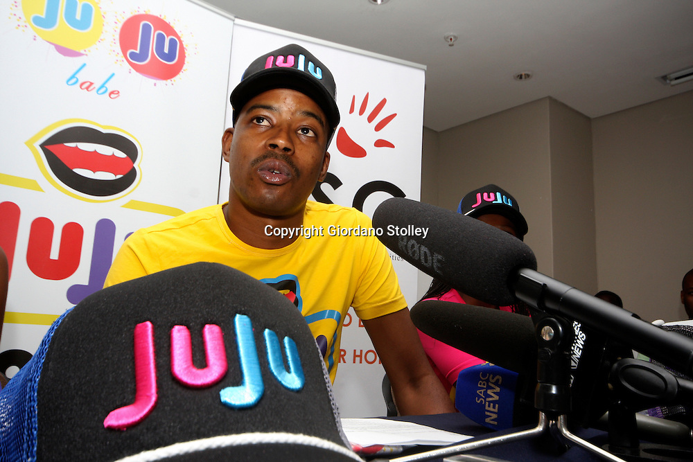 PRETORIA - 26 January 2012 - Fashion designer Obakeng Ramabodu  launches the fashion label JuJu that he hopes will become popular on the back of the popularity of controversial African National Youth Congress leader Julius Malema, popularly known as JuJu. Ramabodu says Malema is not receiving royalties and it was Malema's continuing drive to push for what he wants that inspired him. The range includes caps, tshirts and vests for children and adults ie JuJu Babe, JuJu Boy and JuJu Kid..Picture: Giordano Stolley/ Allied Picture Press APP