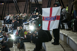 """© Licensed to London News Pictures . 03/11/2017 . Manchester , UK . Hundreds of fans of Tommy Robinson (real name Stephen Yaxley-Lennon ) at the launch of the former EDL leader's book """" Mohammed's Koran """" at Castlefield Bowl . Originally planned as a ticket-only event at Bowlers Exhibition Centre , the launch was moved at short notice to a public location in the city . Photo credit : Joel Goodman/LNP"""
