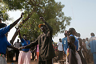 South Sudanese playing traditional music and dancing in the capital on the day before South Sudan declares independence from North Sudan..Juba, South Sudan. 08/07/2011..Photo © J.B. Russell