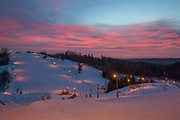 Last light at Zagarkalns ski resort on the 14th February 2019 in Zagarkalns in Latvia. Zagarkalns is a small ski resort in the north eastern region of Latvia. It is close to the historic town of Cesis.