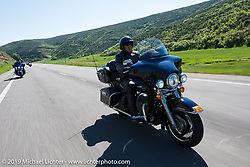Mitch Fuentes of The Woodlands, TX on his 2012 Ultra Glide riding from Steamboat Springs to Doc Holliday's Harley-Davidson in Glenwood Springs during the Rocky Mountain Regional HOG Rally, Colorado, USA. Thursday June 8, 2017. Photography ©2017 Michael Lichter.