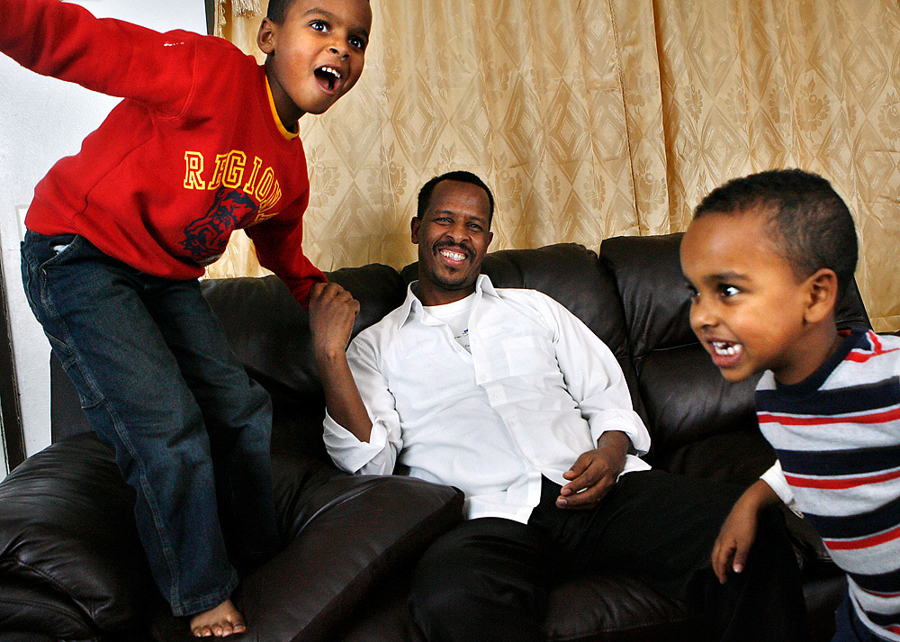 Mohamed Abdalla of Kennewick is trying to bring his wife Maryam to the U.S. from Sudan from World Relief and hopes to be able to work more so he can afford a house with more room for his sons Ashraf, 6, left, and Amjed, 5.