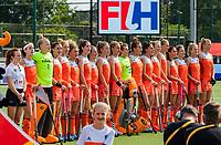 EINDHOVEN -  line Nederlands team tijdens volkslied,  voor  de Pro League hockeywedstrijd  Nederland-Duitsland (2-1)   COPYRIGHT KOEN SUYK