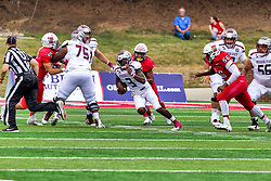 NORMAL, IL - October 02:  Jason Shelley makes a cut through the middle of the line and heads up the field during a college football game between the Bears of Missouri State and the ISU (Illinois State University) Redbirds on October 02 2021 at Hancock Stadium in Normal, IL. (Photo by Alan Look)