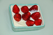 Fresh strawberries and cream healthy snack