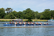 """Henley on Thames, United Kingdom, 24th June 2018, Sunday, """"Henley Women's Regatta"""", view, a heat of the Junior women's eights, in progress between, in white, """"Phillips Academy, USA"""", and in Red, """"National Cathedral School USA"""".  Henley Reach, River Thames, England, © Peter SPURRIER  24/06/2018"""