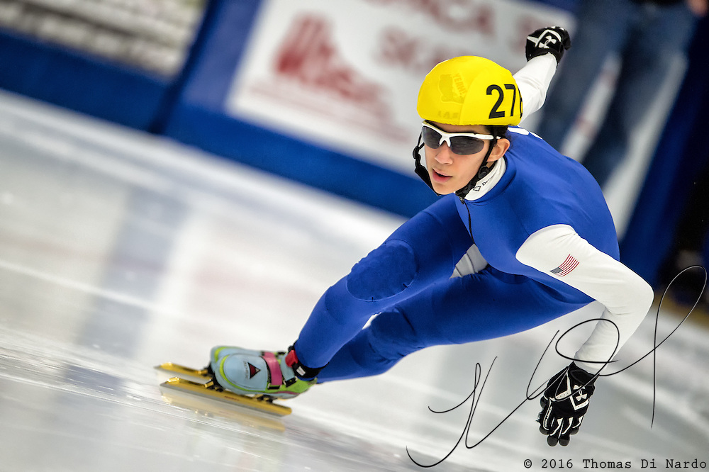 March 20, 2016 - Verona, WI - Gabriella Hachem, skater number 276 competes in US Speedskating Short Track Age Group Nationals and AmCup Final held at the Verona Ice Arena.