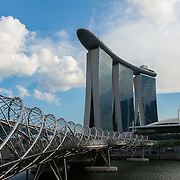 Helix bridge to Marina Bay Sands hotel, Singapore