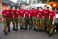 Staff Sgt Jim Offord, (Centre) and team members from 39 Engineer Regiment , Lance Corporal Dean Howard, Corporal Dave Little, Sapper Darren Pallatina, Lance Corporal Rich Holmes, Corporal Mark Cammock, Sapper Garry Scott, Lance Corporal Dave Hopkins, SSgt Darren King, Sapper James Payze, Captain Jo Miles, Sgt Steve Bedford and, Lance Corporal Lee Melia, who will be working to complete the 10 Squaddies, 10 Marathons, 5 Days Challenge carrying 40lb Bergens. The team aimed to raise £4800 for St Dunstan's Charity for blind ex-Service men and women but the figure now stands £10,000 raised...1 November 2010 .Images © Paul David Drabble