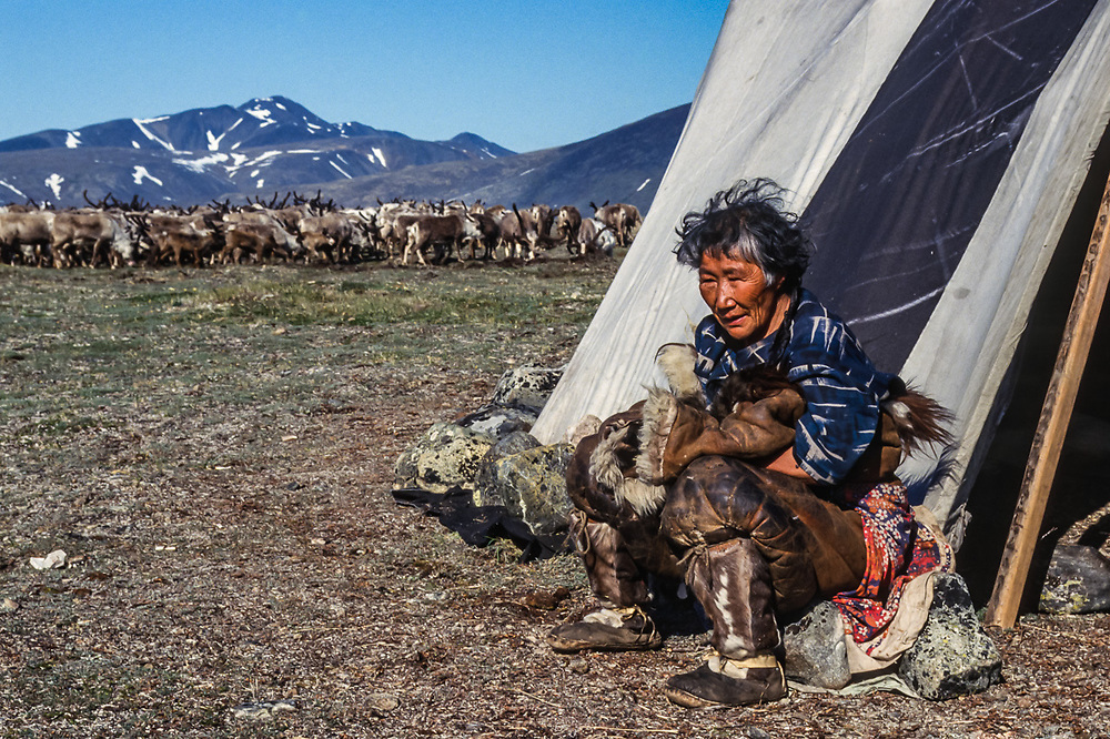 Chuchi elder, Chukchi reindeer camp, Val 'karvaam Valley, Chukotsk Peninsula, Northeast  Russia