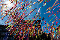 Coventry city of culture 2021 ,Broadgate filled with ribbons made by local school children with messages about Coventry photo by Mark Anton Smith