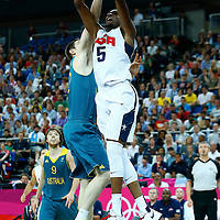 08 August 2012: USA Kevin Durant goes for the alley hoop dunk  during 119-86 Team USA victory over Team Australia, during the men's basketball quarter-finals, at the 02 Arena, in London, Great Britain.