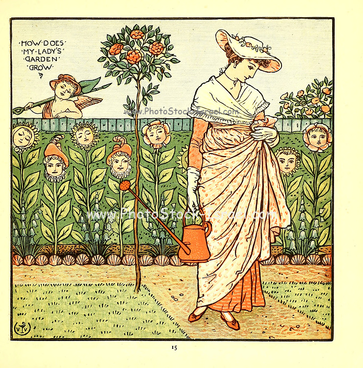 How Does My Lady's Garden Grow From the Book '  The baby's opera : a book of old rhymes, with new dresses by Walter Crane, and Edmund Evans Publishes in London and New York by F. Warne and co. in 1900