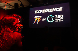 © Licensed to London News Pictures. 25/10/2021. LONDON, UK. A 360 degree audio experience at the opening of a David Bowie pop-up shop in Heddon Street in the West End.  Open 75 days before the late singer's 75th birthday, the pop-up is located close to where Bowie posed as Ziggy Stardust on the cover of his 1972 album The Rise and Fall of Ziggy Stardust and the Spider from Mars.  The store sells limited edition records and memorabilia curated by his estate and will be open until January 2022. A sister shop will open in New York and both form part of a year long celebration of David Bowie's 75th birthday.  Photo credit: Stephen Chung/LNP