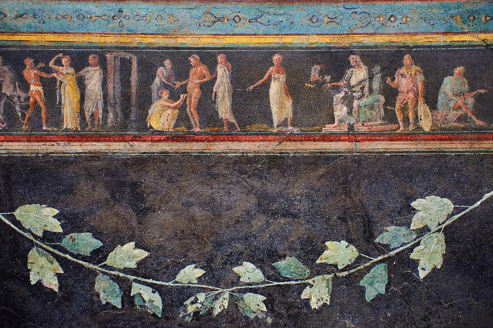"""Roman fresco wall decorations of the Triclinium C, Villa Farnesia, Rome. Museo Nazionale Romano ( National Roman Museum), Rome, Italy.<br /> <br /> In the center of the dining room was a table, with three couches (klinai in Greek, hence the name """"triclinium"""") on which the diners reclined as they ate. The southern exposure of the room and its main color suggest it was meant to be used in the winter. The architect Vitruvius, writing in the 1st century after Christ, recommends a dark background that will absorb heat to make the rooms warmer in cold weather. The black color (atramentum), made from a mixture of charcoal and glue, was resistant to smoke from the fire and soot from the lamps. On the dark background delicate landscapes are painted in light colors: cityscapes with buildings, arches, and gateways, and rural scenes showing huts, animals, and rustic shrines. The lavish decoration is broken up by slender columns festooned with ivy. The capitals are crowned by graceful female figures (caryatids). A frieze at eye level has scenes in which the same figures keep reappearing: popular tales depicted in a lively fashion. The scenes of the frieze start with the rear of the right wall. Also on this wall, near the doorway. can be seen a restoration made in antiquity to close off another entrance. We can identify a part of the polychrome mosaic pavement of this room. with meanders and stacked cubes rendered in perspective. The modem arrangement does not reproduce the or final. but is intended to suggest the effect of the pavement in the room .<br /> <br /> If you prefer to buy from our ALAMY PHOTO LIBRARY  Collection visit : https://www.alamy.com/portfolio/paul-williams-funkystock/national-roman-museum-rome-fresco.html<br /> <br /> Visit our ROMAN ART & HISTORIC SITES PHOTO COLLECTIONS for more photos to download or buy as wall art prints https://funkystock.photoshelter.com/gallery-collection/The-Romans-Art-Artefacts-Antiquities-Historic-Sites-Pictures-Images/C0000r2uLJJo9"""
