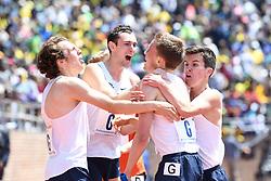 April 28, 2018 - Philadelphia, Pennsylvania, U.S - University of Villanova milers, LOGAN WETZELL (4:09.0), BEN MALONE, (4:04.6), ANDREW MARSTON, (4:05.7), CASEY COMBER, (4:04.5) celebrate as they win the CM 4xmile championship of America, at the 124th running of the Penn Relays in Philadelphia Pennsylvania (Credit Image: © Ricky Fitchett via ZUMA Wire)
