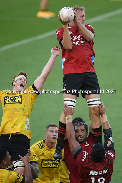 Crusaders Mitchell Dunshea takes a lineout in the Super Rugby match, Hurricanes v Crusaders, Sky Stadium, Wellington, Sunday, April 11, 2021. Copyright photo: Kerry Marshall / www.photosport.nz