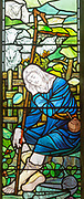 Stained glass window church of Saint Mary, Martlesham, Suffolk, England, UK by Walter J Pearce in Arts and Craft style, 1903 Shepherd and Flock shepherd sleeping