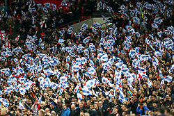 England fans waves flags in the stands during the UEFA Euro 2020 Qualifying, Group A match at Wembley Stadium, London.