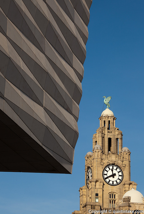Museum of Liverpool with Royal Liver Building topped with Liver Birds, Liverpool