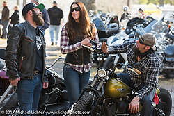 Scott Koonts (L), Sarah and Peter Ballard at the The Cycle Source bike show at the Broken Spoke Saloon during Daytona Beach Bike Week. FL. USA. Tuesday, March 14, 2017. Photography ©2017 Michael Lichter.