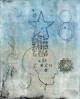 """Monoprint of a human head with alchemical symbols coming through from a star.<br /> :::<br /> """"Be your own flying saucer! Rescue yourself!"""" <br /> ― Tom Robbins, Even Cowgirls Get the Blues"""
