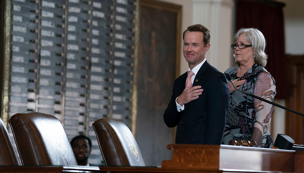 House Speaker Dade Phelan and paliamentarian Sharon Carter say the Pledge of Allegiance in the Texas House on the first day of the special session on July 8, 2021.