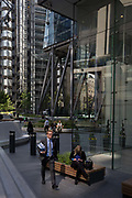 Architecture outside the Leadenhall building and Lloyds of London  in the City of London - the capitals financial district, on 6th June 2018, in London, England.