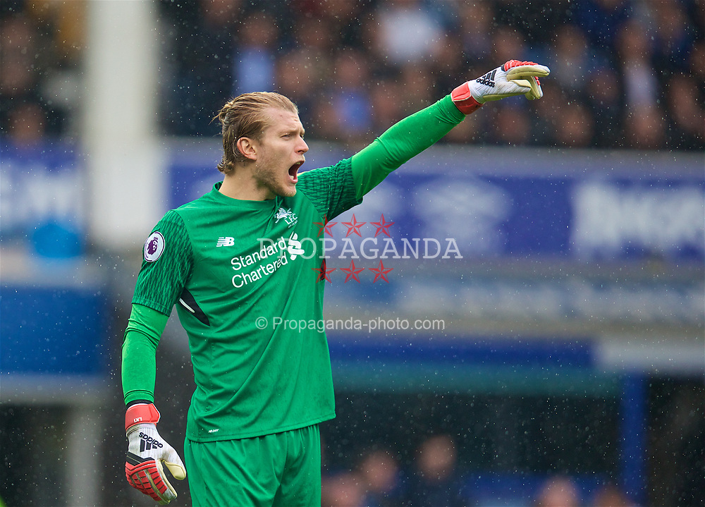 LIVERPOOL, ENGLAND - Saturday, April 7, 2018: Liverpool's goalkeeper Loris Karius during the FA Premier League match between Everton and Liverpool, the 231st Merseyside Derby, at Goodison Park. (Pic by David Rawcliffe/Propaganda)