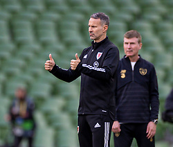 DUBLIN, REPUBLIC OF IRELAND - Sunday, October 11, 2020: Wales' manager Ryan Giggs gives a double thumbs-up during the UEFA Nations League Group Stage League B Group 4 match between Republic of Ireland and Wales at the Aviva Stadium. The game ended in a 0-0 draw. (Pic by David Rawcliffe/Propaganda)