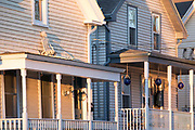 Traditional clapboard homes with front stoop in Newport, Rhode Island, USA