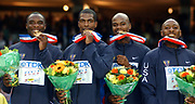 United States gold-medal winning 1,600-meter relay in the IAAF World Championships in Athletics at Stade de France on Sunday, Aug. 31, 2003. From left: Jerome Young, Derrick Brew, Calvin Harrison and Tyree Washington.