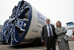 © licensed to London News Pictures. London, UK 13/03/2012. Mayor of London, Boris Johnson and Transport Secretary Justine Greening is posing in front of Crossrail tunnel boring machines as machines started to work for the first time in Westbourne Park this morning. Photo credit: Tolga Akmen/LNP
