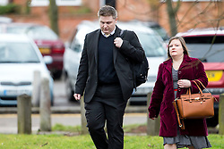 © Licensed to London News Pictures. 02/03/2016. Ampthill, UK. Conservative aide ANDRE WALKER (left) arrives for a pre-inquest review into the death of Conservative party activist Elliott Johnson. Mr Johnson was found dead on a railway line in Bedfordshire a few weeks after he raised concerns about the way he had been treated in the Conservative youth wing. Photo credit: Peter Macdiarmid/LNP