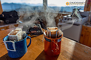 Hot coffee in the morning at Werner Peak Lookout Tower, Stillwater State Forest, Montana, USA