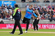 (Caption correction) Will Beer of Sussex reacts after Corey Anderson of Somerset is dropped during the Vitality T20 Finals Day semi final 2018 match between Sussex Sharks and Somerset County Cricket Club at Edgbaston, Birmingham, United Kingdom on 15 September 2018.