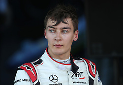 F2 driver George Russell at Silverstone Circuit, Towcester. PRESS ASSOCIATION Photo. Picture date: Sunday July 8, 2018. See PA story AUTO British. Photo credit should read: David Davies/PA Wire. RESTRICTIONS: Editorial use only. Commercial use with prior consent from teams.