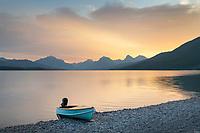 Boat on beach at Lake McDonald, Glacier National Park Montana