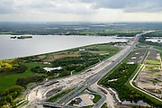 Nederland, Flevoland, Almere, 07-05-2015;  Almere-Poort, Rijksweg A6 gezien naar Hollandse brug. De autosnelweg wordt verbreed.<br /> Motorway A6 is being redeveloped,<br /> luchtfoto (toeslag op standard tarieven);<br /> aerial photo (additional fee required);<br /> copyright foto/photo Siebe Swart