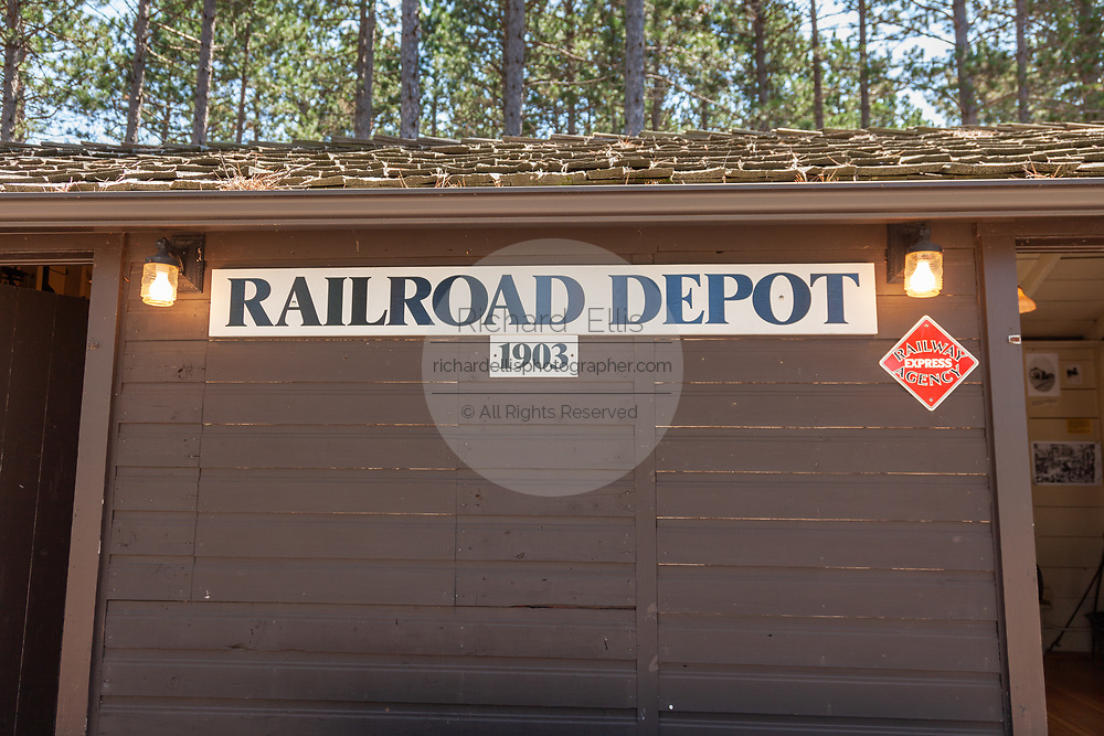 The old Railroad Depot, now a museum, built from logs in the Northwoods village of Boulder Junction, Wisconsin.