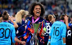 Olympic Lyonnais' Captain Wendie Renard (centre) celebrates after winning the UEFA Women's Champions League Final